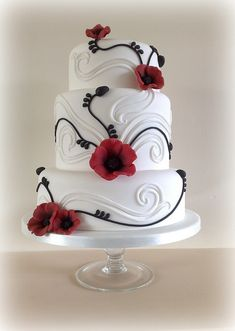 POPPY WEDDING CAKE : 3 Tier Poppy Wedding Cake with a hint of Baroque in the white swirls and black Poppy stem accents. (Although this cake is classed as a 3 tier it is actually 4 tiers, as the middle is double in depth) Top Tier 6 Middle Tier 8 ( Gorgeous Cakes, Pretty Cakes, Cute Cakes, Amazing Cakes, Unique Cakes, Creative Cakes, Occasion Cakes, Fancy Cakes, Pink Cakes