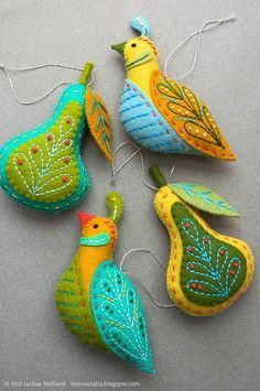 embroidered partridge tree decorations - Google Search
