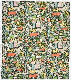 "Textile: ""Calico Cow,"" 1952, designed by Ilonka Karasz (American, b. Hungary, 1896–1981)"