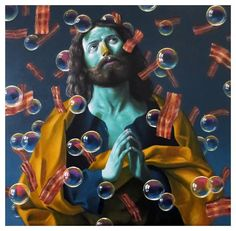 """Patrick Henne Art """"Pray for bacon"""" / Oil on canvas / 201 Losing My Religion, Classic Artwork, Witch Trials, Pop Surrealism, Photo Art, Oil On Canvas, Pray, Bacon, Illustration"""