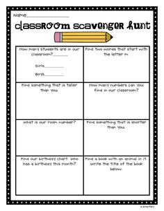scavenger hunt Good first day activity