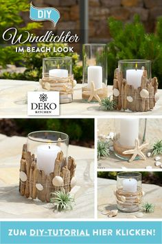 DIY: Vases, jute twine, shells and driftwood can be used to create beautiful . - DIY: Vases, jute twine, shells and driftwood can be used to create beautiful … - Sylvester Stallone, Diy Kitchen Projects, Diy Projects, Log Centerpieces, Holiday Mood, Jute Twine, Shell Crafts, Driftwood, Diy And Crafts