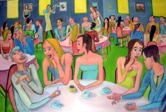 """Reunion social 1b "", acrylic on canvas, 140 x 94 cm. 2009 Price of original painting: inquire"