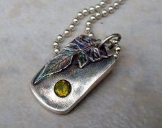 Handmade jewelry - Peridot Honeysuckle Necklace $50   My birthstone!!   :)