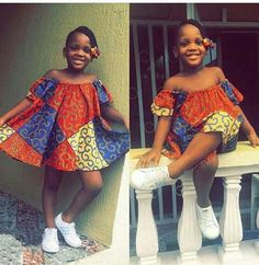 Ankara Styles For Kids; Little Girls And Baby Girls Ankara Styles Ankara Styles For Kids, African Dresses For Kids, Trendy Ankara Styles, African Children, African Fashion Dresses, Girls Dresses, African Attire, African Wear, Moda Kids