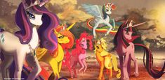 Rainbow Dash, Twilight Sparkle, Rarity, Applejack, Pinkie Pie, and Fluttershy all as princesses