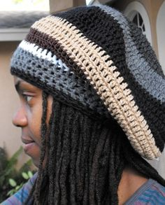 Ravelry: Visor Slouch/Rasta Tam Crochet Pattern pattern by Crochet Adult Hat, Crochet Men, Crochet Slouchy Hat, Crochet Stitches, Free Crochet, Knitted Hats, Crochet Hats, Knitting Patterns, Crochet Patterns