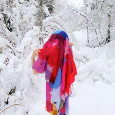 Digitally printed silk scarf 'Älvdalen'  http://www.shilo.net.au/
