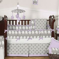 Gray White Purple Elephant Unisex Baby Boy Girl Crib