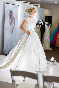 Allure Bridals modest wedding dress - ball gown with pockets