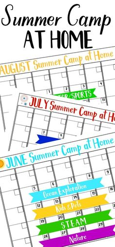 home summer camp calendar - plan an awesome summer with tons of kids activities with our home summer camp! Each week is a different summer camp theme full of crafts and activities