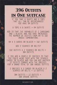 How to pack 396 outfits in one suitcase!!! raerun.com                                                                                                                                                                                 More