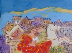Σταθόπουλος Γεώργιος_45 Greek Art, Embroidery, Landscape, Greeks, Puzzles, Paintings, Home Decor, Needlepoint, Scenery