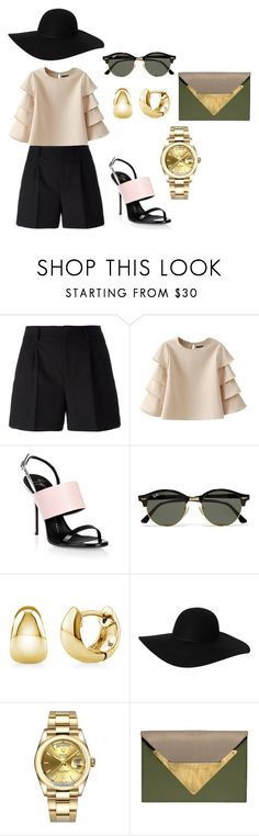 """#elegant street style"" by seldy-enes ❤ liked on Polyvore featuring Yves Saint Laurent, Giuseppe Zanotti, Ray-Ban, BERRICLE, Monki, Rolex and Dareen Hakim"