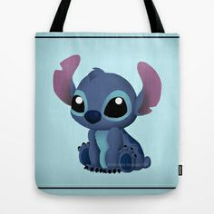 Chibi Stitch Tote Bag by Katie Simpson  - $22.00 Ever since I drew Chibi Toothless I have been wanting to draw one of Stitch. I can't get over how much those two look a like.    (Disney Lilo and Stitch, Alien, 626, experiment 626, vector, fan art, Katie Simpson, Redhead-K, Chibi's, cute, funny, love, Ohana, Ohana means family. Family means nobody gets left behind or forgotten.)