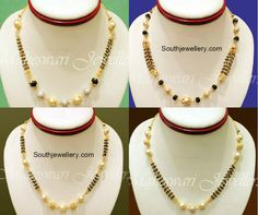 Black Beads Chain latest jewelry designs - Page 9 of 30 - Indian Jewellery Designs Diamond Mangalsutra, Gold Mangalsutra Designs, Beaded Jewelry, Beaded Necklace, Gold Jewelry, Gold Necklace, Pearl Necklaces, Chain Jewelry, Bead Jewellery