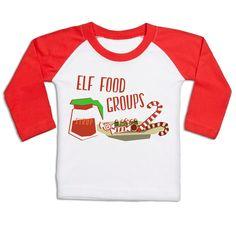 Elf Food Groups long sleeve baby baseball t-shirt