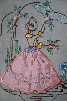 Vintage Hand Embroidered Southern Belle Appliqued Runner Scarf Crinoline Lady |