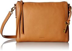 Women's Cross-Body Handbags - Fossil Emma EW Crossbody Tan -- Learn more by visiting the image link.