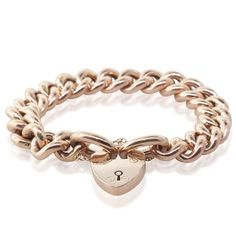 $1600 Vintage 9ct Rose Gold Heart Padlock Bracelet - Walker & Hall