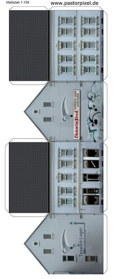 Ausschneidebogen Haus Cardboard Box Houses, Cardboard Toys, Paper Houses, Paper Toys, Free Paper Models, Paper Structure, Paper Car, Paper Doll House, Putz Houses