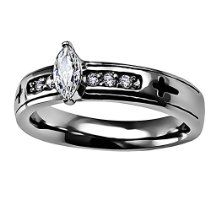 """Stainless Steel Regent Marquise """"True Love Waits"""" 1 Tim. 4:12 Girls Christian Purity Ring //  Description Single Marquise riser stone amidst side channel set stones with engraved, enamel filled cross at each end in High polish stainless steel band. Additionally engraved enamel filled scripture wraps band reading True Love Waits - 1 Timothy 4:12 //   Details   Sales Rank: #177066 in Jewelry  Brand:// read more >>> http://Dena414.iigogogo.tk/detail3.php?a=B00NWMTP6S"""