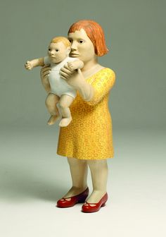 yellow mother and child - figurative sculpture - Claudette Schreuders