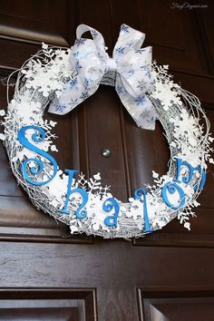"""Chanukah """"Shalom"""" Wreath - Shalom means Hello, Goodbye, Peace & more. Perfect saying for your holiday door decor. #Hanukah #Chanukah #HolidayWreath"""