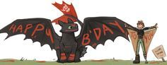 Foto: Happy birthday to our favorite dragon rider Hiccup Horrendous Haddock the Third!!!!!! This is so cute...