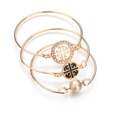 US $2.79 -- 18K Gold Plated Crystal Hollow Cross Bangles Imitation Pearl Multilayer Coins Statement Bangle Bracelet For Women B123-B124 aliexpress.com