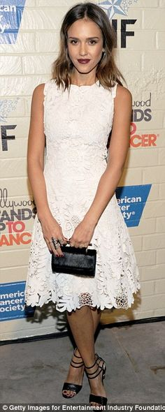 How to rock a white dress | Jessica Alba in a Ralph Lauren white lace dress styled with a M2Mallerier black clutch, Jimmy Choo black ankle strap sandals and berry lips #partywear