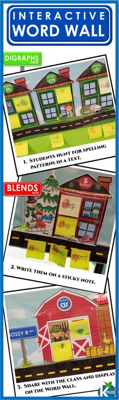 This interactive Word Wall includes word family houses for all phonograms appropriate for the primary grades. This method aligns with Words Their Way, any Spelling program AND differentiated spelling lists. You will no longer worry that your Word Wall is Word Wall Activities, Back To School Activities, Phonics Words, Phonics Games, Teaching Phonics, Work On Writing, Writing Words, Readers Workshop, Writer Workshop