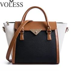 f440a59cc4e Panelled Women Bag Lock Trapeze Women Casual Totes 2017 Luxury Leather  Handbags Designer Famous Brand Crossbody For Women sac