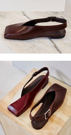 16FW SQUARE MULE SHOES - BROWN