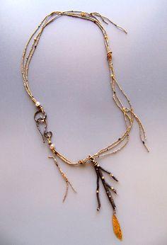 Oxidized Sterling Silver with 18 karat gold LuciaAntonelli.com Weird Jewelry, Boho Jewelry, Jewelry Art, Antique Jewelry, Jewelry Design, Jewellery, Silver Necklaces, Silver Jewelry, Jewelry Necklaces