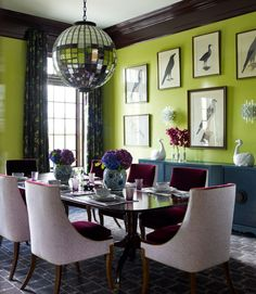 Jazz up your dining nook with a strong burst of chartreuse. Add bold upholstered chairs and an unexpected glittery light fixture and your dinner parties will surely be a huge hit.  - GoodHousekeeping.com