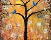 Tree Print Art Wall Decor Signed Modern 11X14 Sunshine. $35.00, via Etsy.
