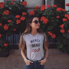 """couldn't resist this cute """"merci beaucoup"""" tee for #pfw #LRfashionweek"""