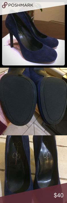 Jessica Simpson Navy Blue Heels Gorgeous navy blue suede Jessica Simpson shoes. Only used once. After having my son they are a bit to tight on me. Size 7.5 Jessica Simpson Shoes Heels