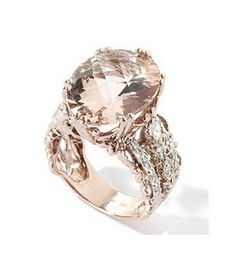 14K Rose Gold Peach Morganite & Diamond Ring at ShopNBC.com