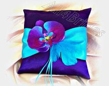 Purple and turquoise wedding ring pillow, purple and blue orchid ring cushion, ring bearer wedding accessories