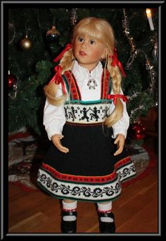 Paula, by Sissel Skille. Folk Costume, Costumes, Norwegian Fashion, Knitting For Kids, Historical Clothing, Toddler Dress, Traditional Outfits, Girl Dolls, Crochet