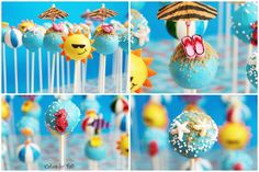 I made these cake-pops for a poo/beach party themed birthday. Beach Cake Pops, Fish Cake Pops, Beach Themed Cakes, Beach Cakes, Summer Cakes, Summer Desserts, Summer Treats, Lake Party, Beach Party