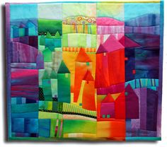 Make Me a Quilt, Bonus Quilt, Castletown (Fibermania) ~ This is so neat, and the blog has many more very colorful, artsy quilts.