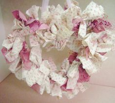 White and Pink Heart Rag Wreath - Unique Design Double Tied.