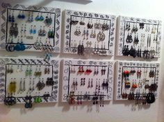 Poke holes in a plain canvas and draw funky designs with a Sharpie...great & easy way to display earrings!