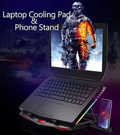 MeFee RGB Laptop Cooling Pad for 15.6-21 Inch Professional Gaming Laptop Cooler with 6 Quiet Fans and Button Control, Pure Metal Panel Portable Cooler - Tofsh Laptop Cooling Stand, Laptop Stand, Phone Stand, Laptop Cooler, Best Gaming Laptop, Computer Shop, Blue Led Lights, Home Technology, Metal Panels