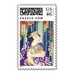 Kabuki Actor Portrait Waterfall Toyohara Kunichika Stamps