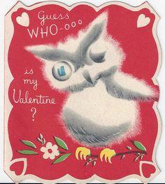 Winking Wise Old Owl Vintage Valentine