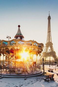 Carousel and Eiffel Tower, Paris